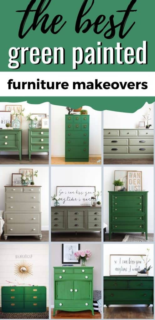 a collage of the best painted furniture in green
