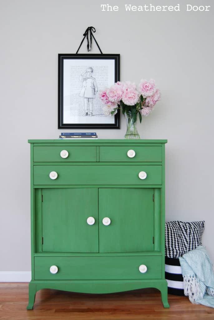 Tavern Green Milk Paint Dresser with Bone Knobs