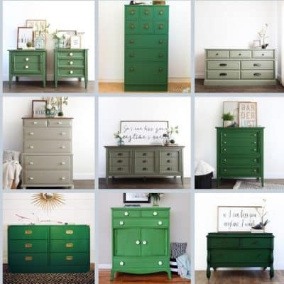 collage of best painted furniture in green