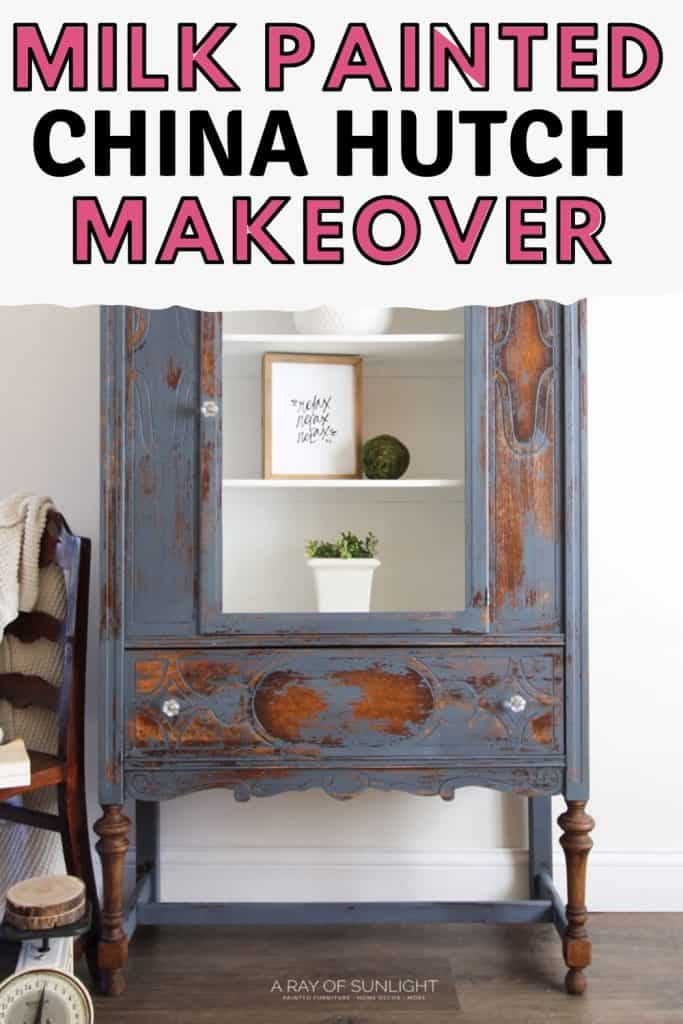 """milk painted china hutch makeover"""