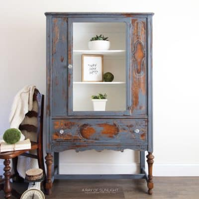 blue painted china cabinet makeover