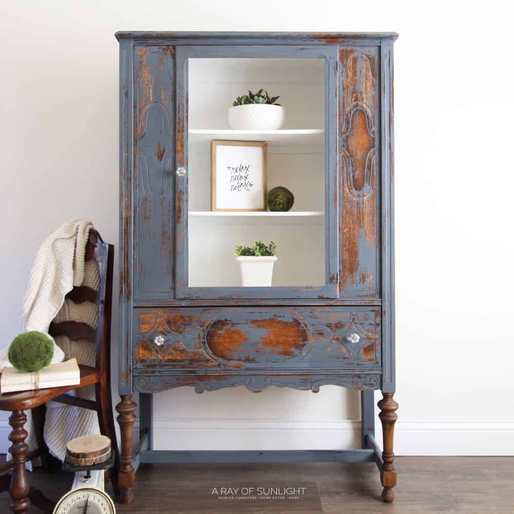 the blue painted hutch makeover