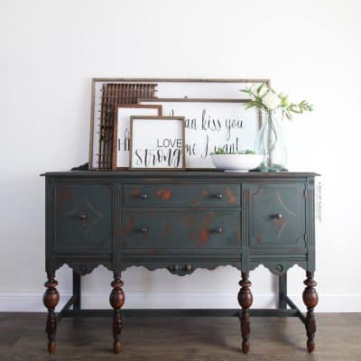 farmhouse style dark green painted buffet