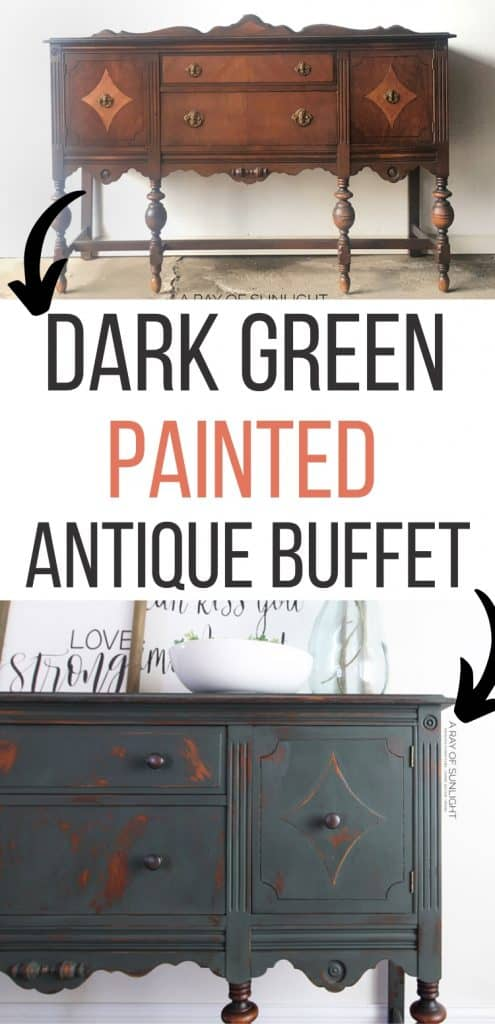 dark green painted antique buffet