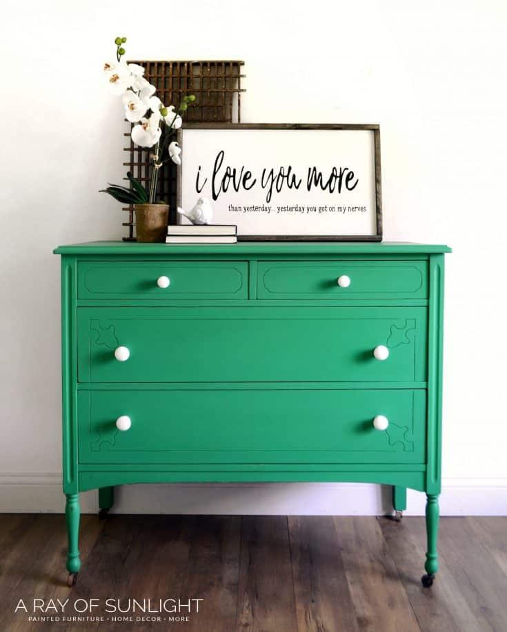 Green Chalk Painted Dresser