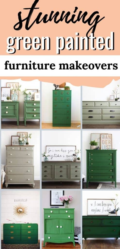 a collection of stunning green painted furniture makeovers