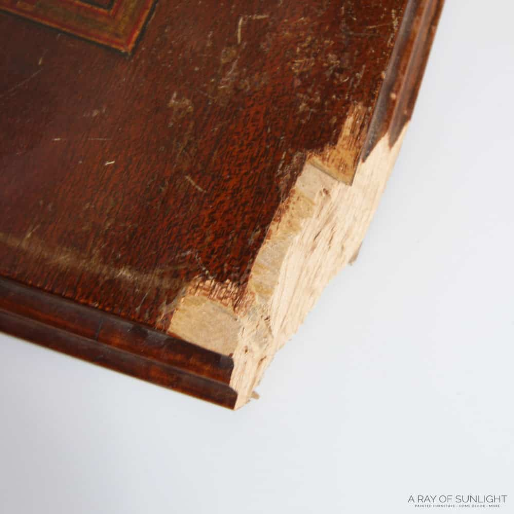 how to fix chipped wood corner