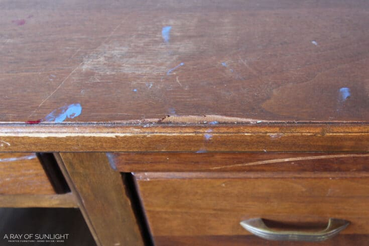 How to Repair (and Stain) Chipped Veneer Furniture