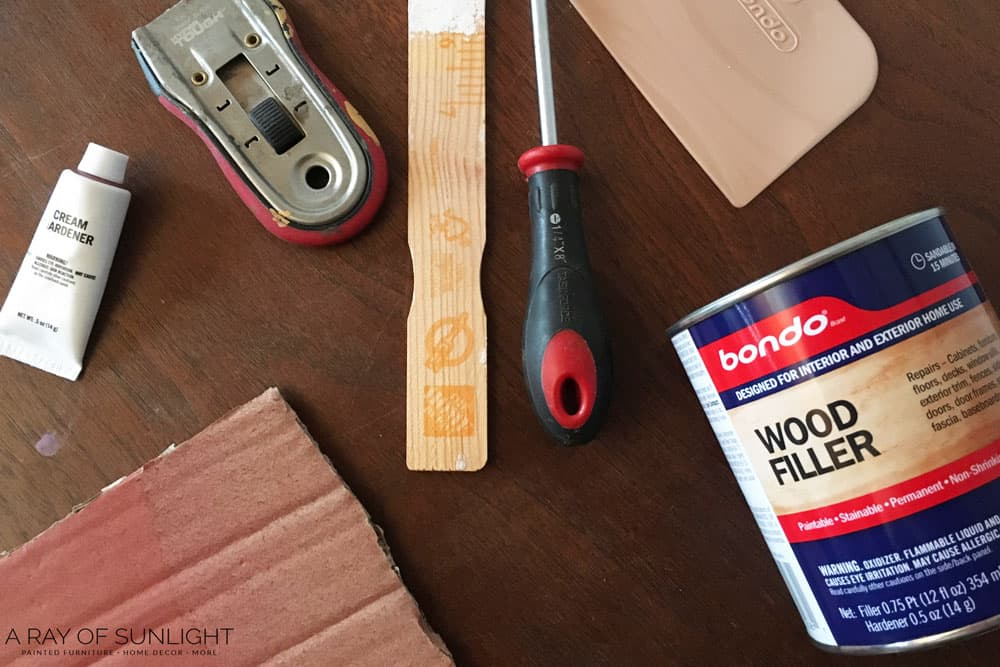 Supplies to fix chipped veneer with bondo wood filler