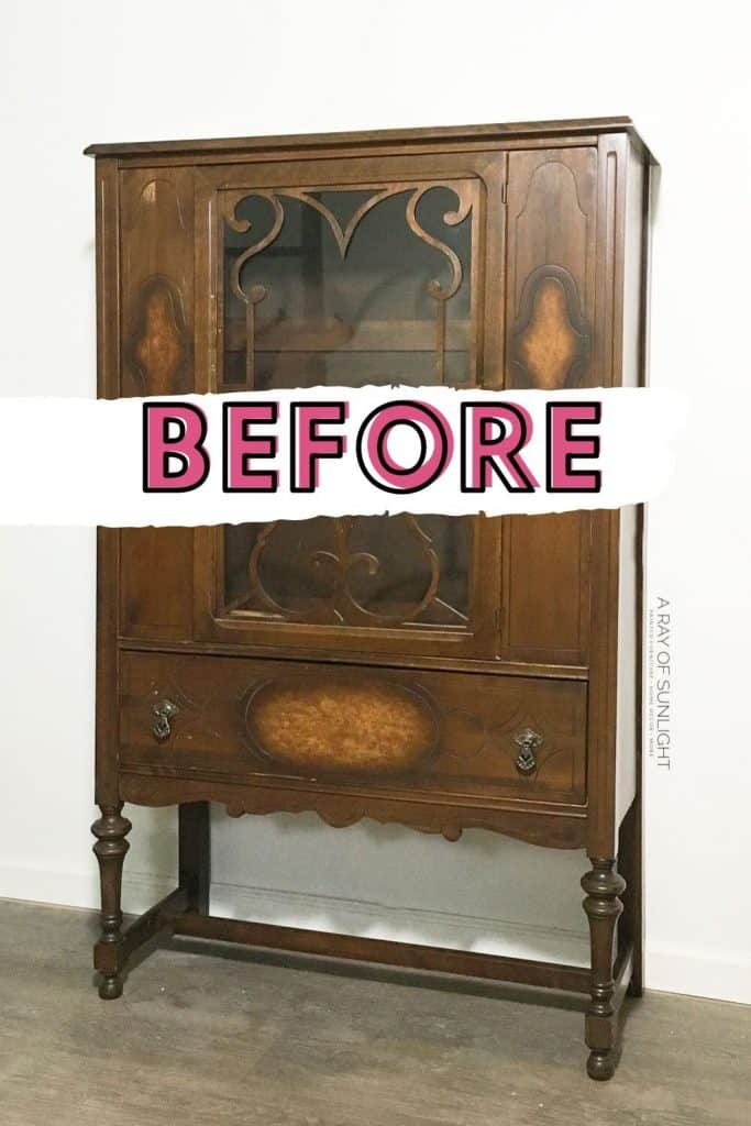 Old China Hutch BEFORE the makeover