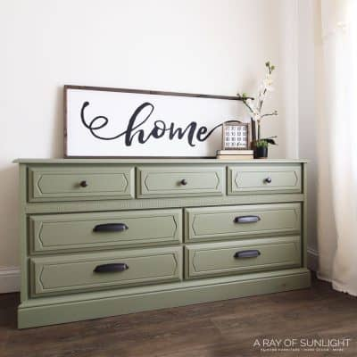 olive green painted dresser