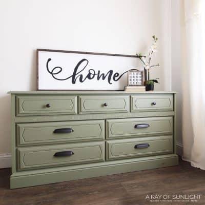 olive green painted dresser