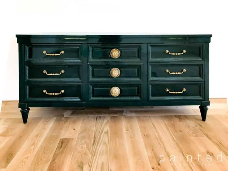 High Gloss Dark Green Painted Dresser