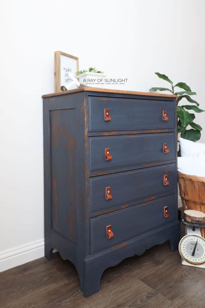 DIY Dresser Painted in Navy Blue with DIY leather pulls