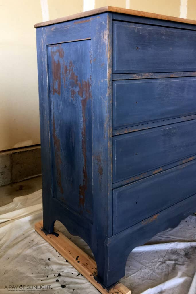 Chippy Milk Painted Dresser During Makeover
