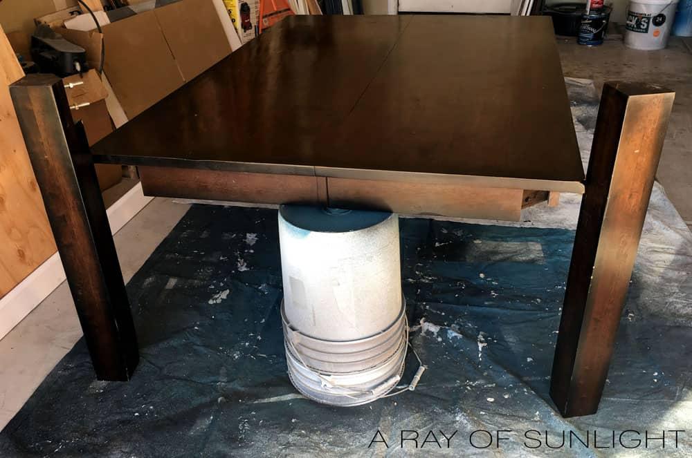 Kitchen table ready to strip