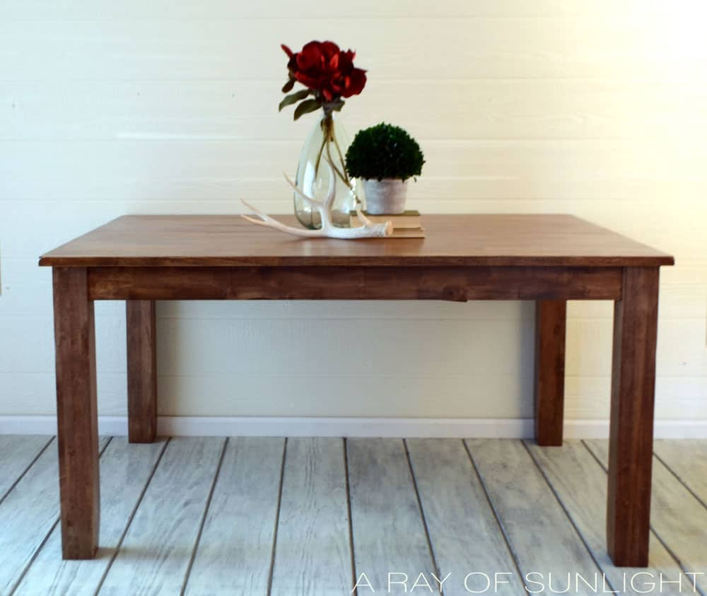 After of weathered wood kitchen table makeover