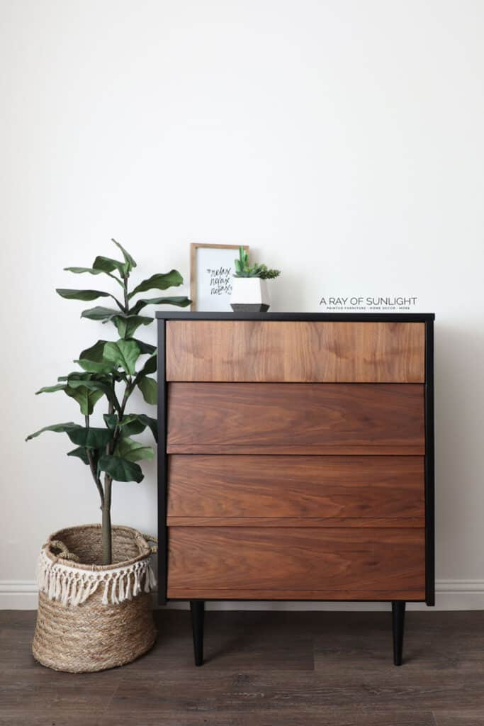 After - Black Painted Dresser with Natural Wood Drawers