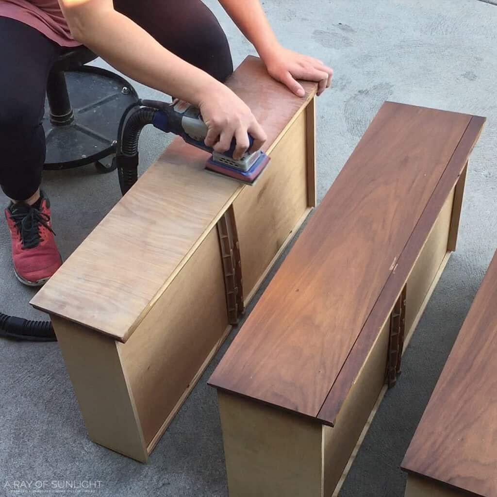 sanding drawers with surfprep sander