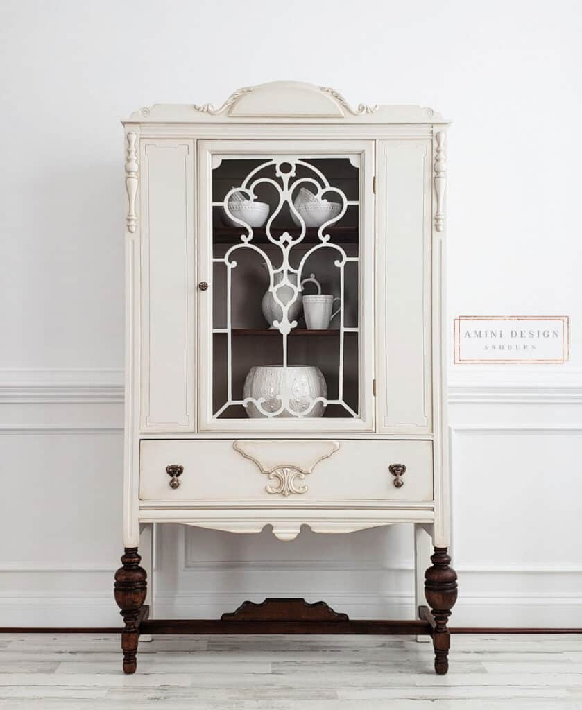 Anitque China Hutch Makeover in Antiqued White Paint Finish