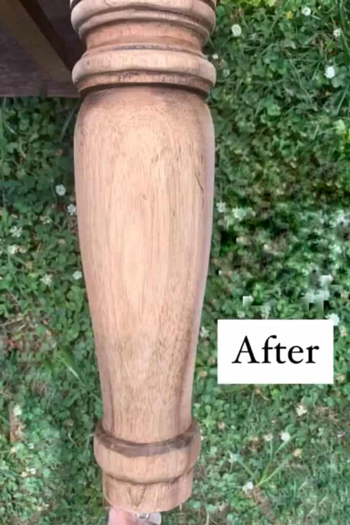 after bleached wood leg