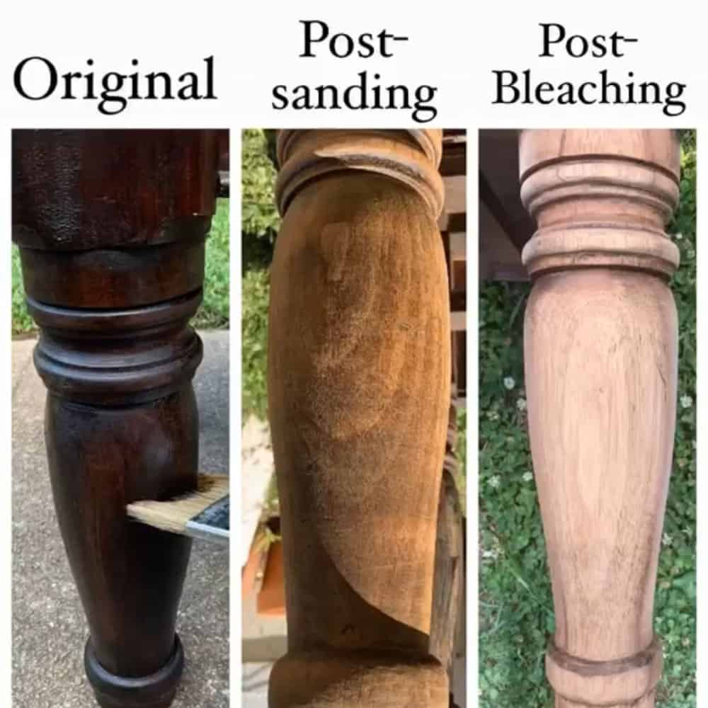 how to bleach wood - before, during and after photos