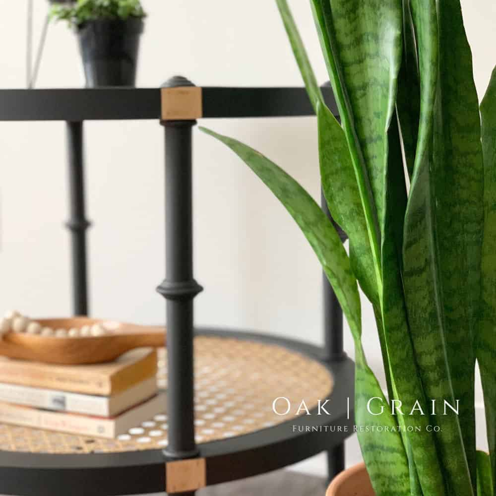 refinished rattan end table