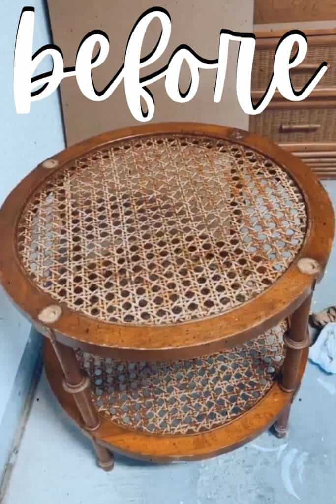 before - old rattan end table