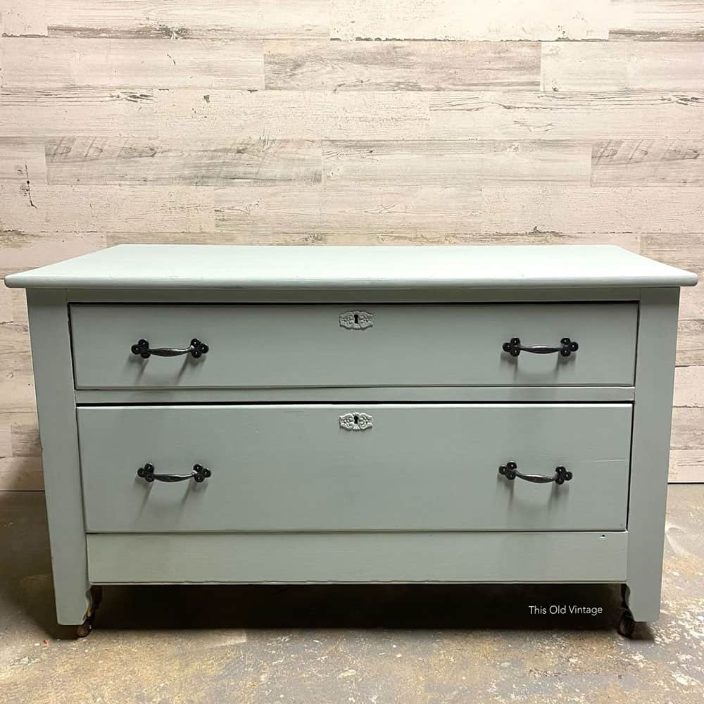 dresser painted blue with mudpaint