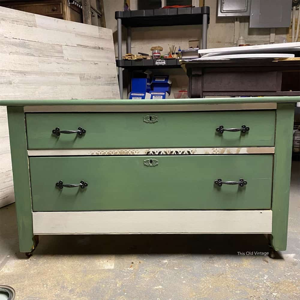 dresser painted green and white