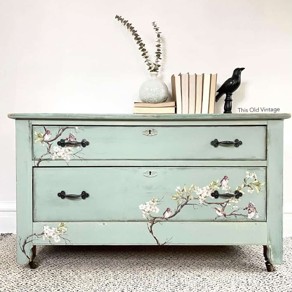 After - Blue Dresser with Floral Furniture Transfer