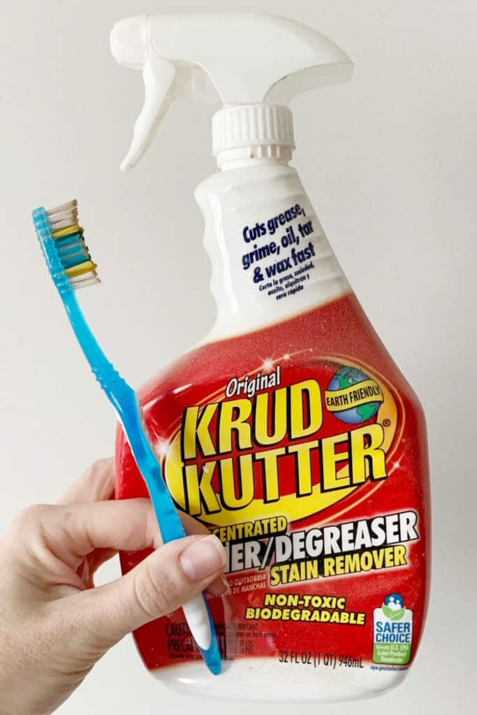 krud kutter and old toothbrush to clean rattan