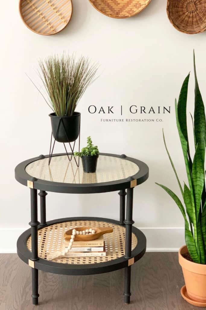 rattan end table painted black