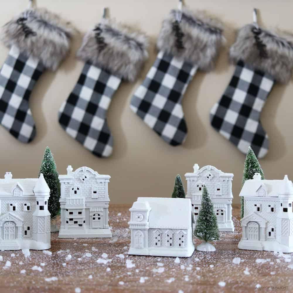 dollar tree Christmas village painted