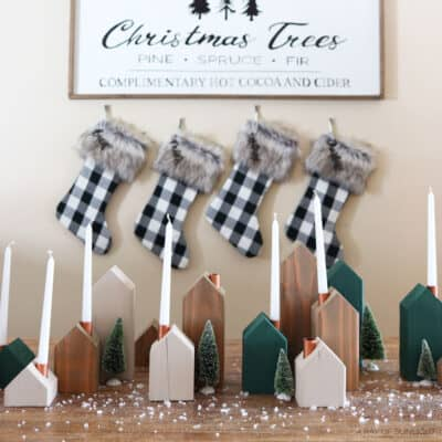 wooden christmas village candle holders