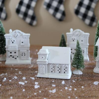 diy white painted christmas village