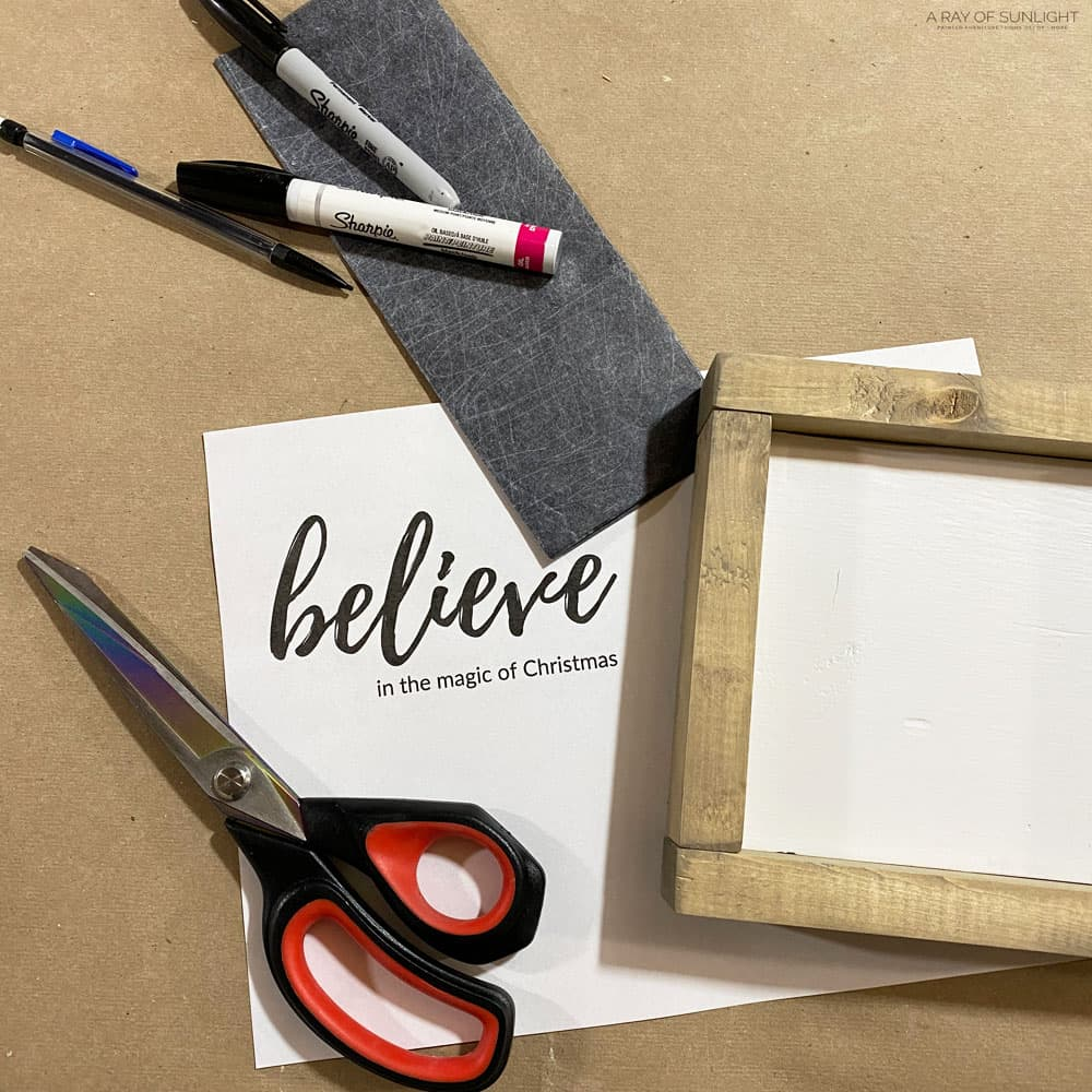 supplies needed to make believe Christmas sign