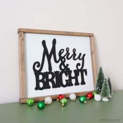 Merry and Bright Wooden Sign | Dollar Tree Christmas Decoration