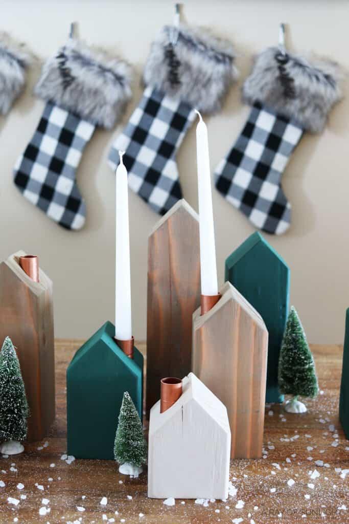 diy Christmas candle holders - Christmas village