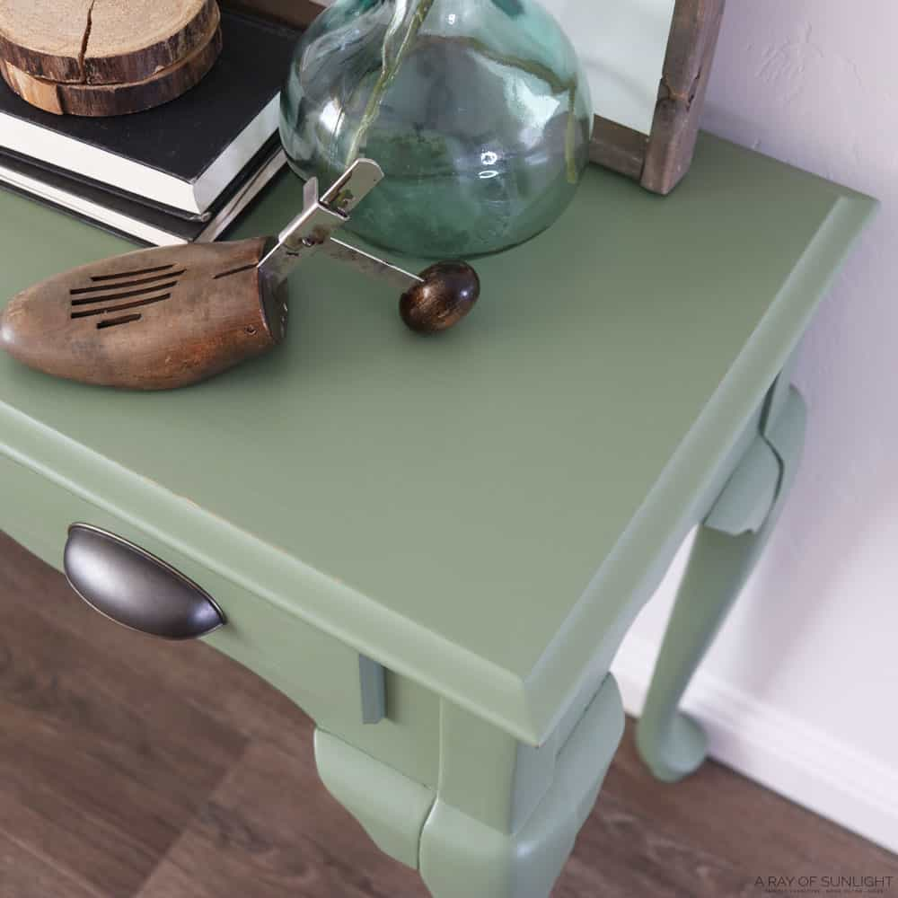 green painted sofa table makeover