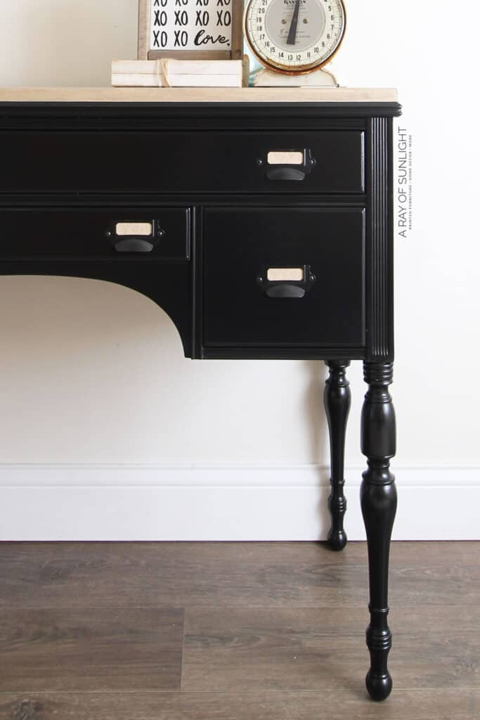black painted desk with card catalog drawer pulls
