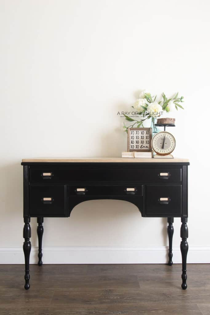 black painted desk with wood top
