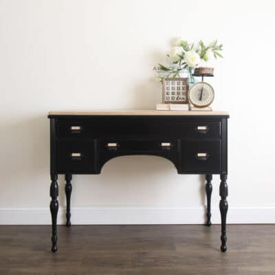 black painted desk with stained wood top