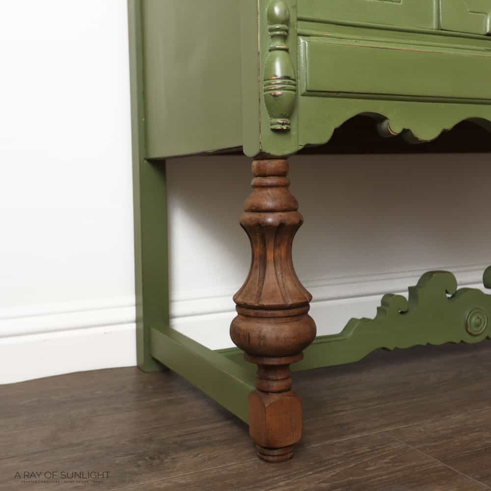 stained wood legs with dark wax