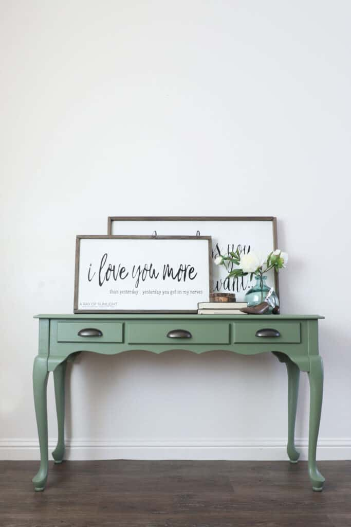 green painted sofa table