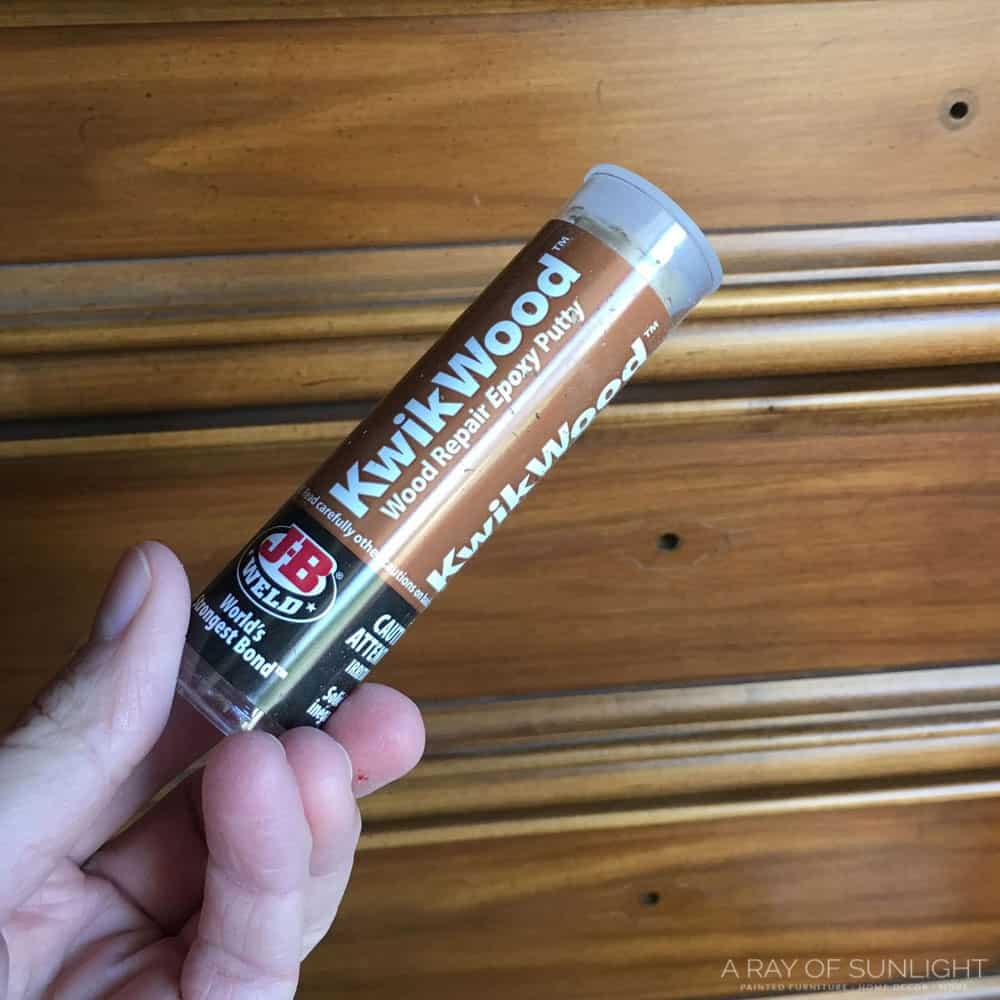 kwikwood wood repair epoxy putty in hand