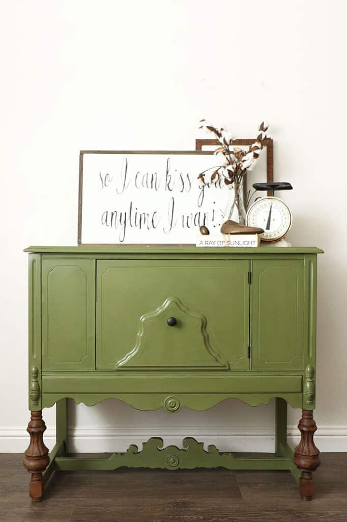 olive green painted mini buffet