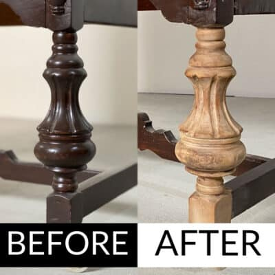 before and after removing wood stain from antique wood legs