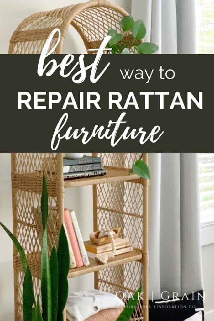 repaired rattan shelf
