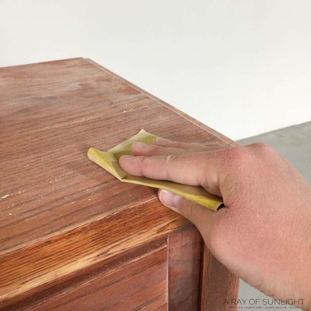 scuff sanding sofa table before chalk paint